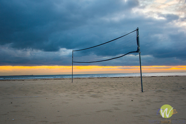 Grove Beach Point Terrace. Volley Ball net in winter at dusk.