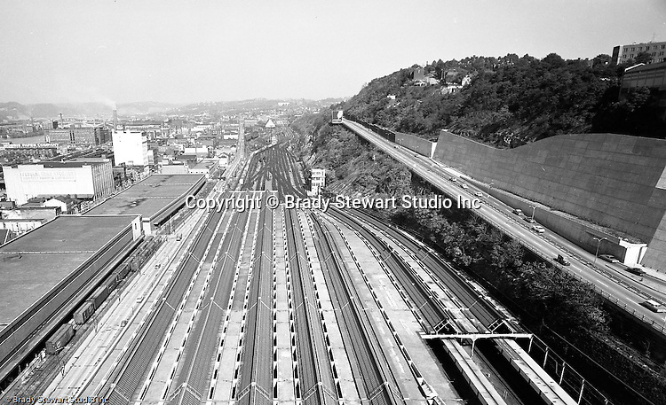Pittsburgh PA:  View of the strip district and construction on Bigelow Boulevard from the roof of the Pennsylvania Railroad Pittsburgh's Penn Station - 1959.