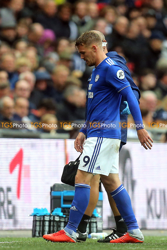 Danny Ward of Cardiff City limps off during Tottenham Hotspur vs Cardiff City, Premier League Football at Wembley Stadium on 6th October 2018