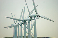 Wind farm, near Huddersfield, Yorkshire.Turbines.