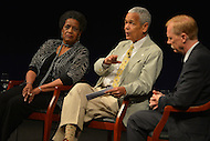 June 5, 2013  (Washington, DC)  (L-R) Mrylie Evers, Julian Bond and Jerry Mitchell during a panel discussion at the Newseum on the 50th anniversary of assassination of civil rights activist Medgar Evers.  (Photo by Don Baxter/Media Images International)