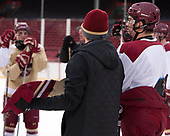 Michael Kim (BC - 4) won the shootout. - The Boston College Eagles practiced on the rink at Fenway Park on Friday, January 6, 2017.