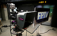 NWA Democrat-Gazette/DAVID GOTTSCHALK  A camera and monitor displaying the new logo Thursday, May 11, 2017, inside the studio at Fayetteville Public Television on W. Rock Street in Fayetteville.