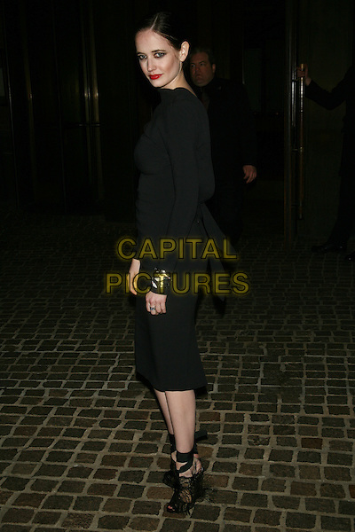 "EVA GREEN.The Special Screening of ""Cracks"" held at the Tribeca Grand Hotel, New York, NY, USA..March 16th, 2011.full length black dress long sleeve ankle strap sandals side.CAP/LNC/TOM.©TOM/LNC/Capital Pictures."