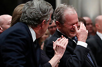 Former President George W. Bush with his brother Jeb Bush and Laura Bush at the State Funeral for their father, former President George H.W. Bush, at the National Cathedral, Wednesday, Dec. 5, 2018, in Washington.<br /> CAP/MPI/RS<br /> &copy;RS/MPI/Capital Pictures