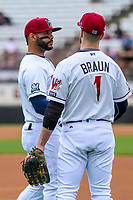 Milwaukee Brewers second baseman Jonathan Villar (3) and outfielder Ryan Braun (1) during a rehab appearance with the Wisconsin Timber Rattlers during game one of a Midwest League doubleheader against the Kane County Cougars on June 23, 2017 at Fox Cities Stadium in Appleton, Wisconsin.  Kane County defeated Wisconsin 4-3. (Brad Krause/Krause Sports Photography)