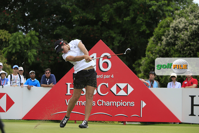 Carlota Ciganda (ESP) on the 16th green during Round 3 of the HSBC Women's Champions at the Sentosa Golf Club, The Serapong Course in Singapore on Saturday 7th March 2015.<br /> Picture:  Thos Caffrey / www.golffile.ie