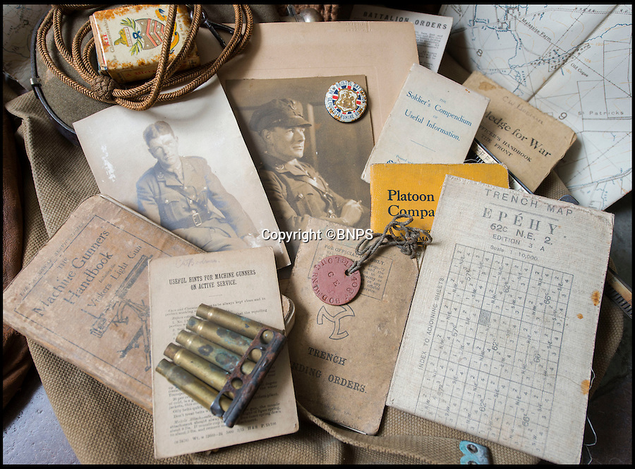 BNPS.co.uk (01202 558833)<br /> Pic: PhilYeomans/BNPS<br /> <br /> Various emphemera from his time in the trenches including handbooks, dog tag, trench maps, spent bullets, matches etc.<br /> <br /> Poignant time capsule trunk from the Great War rediscovered...<br /> <br /> An incredible 'time capsule' trunk containing the personal effects of a tragic World War One officer that his grieving family shut away in 1918 has been unearthed - almost 100 years later.<br /> <br /> The military items belonged to Second Lieutenant Charles Bodman, from Marshfield, Glos, who was killed three months before the end of the war in 1918.<br /> <br /> After his death all his possessions, including his uniforms, caps, brass badges, detailed trench maps, orders, handbooks, photographs, German souveniers, letters, water bottles, lanyard and even spent bullets, were sent back to his widowed mother Sarah who locked them away in the trunk.
