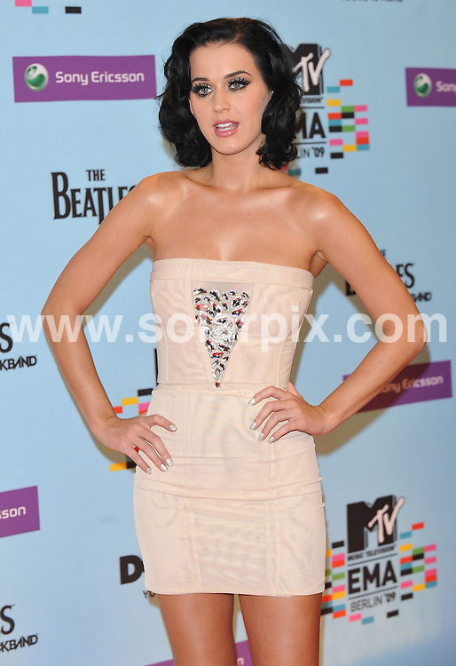 **ALL ROUND PICTURES FROM SOLARPIX.COM**.**WORLDWIDE SYNDICATION RIGHTS**.Red carpet arrivals and press room at the MTV European Music Awards 2009. Held at O2 World, Berlin, Germany, on Thursday November 05, 2009..This pic: Katy Perry..JOB REF: 10251 SSD     DATE: 05_11_2009.**MUST CREDIT SOLARPIX.COM OR DOUBLE FEE WILL BE CHARGED**.**MUST NOTIFY SOLARPIX OF ONLINE USAGE**.**CALL US ON: +34 952 811 768 or LOW RATE FROM UK 0844 617 7637**