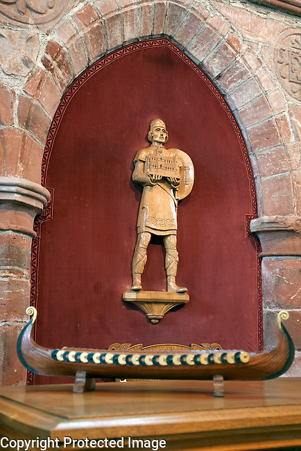 Carved figures of Earl Rognvald, the founder of St Magnus Cathedral, Kirkwall, Orkney Islands, Scotland