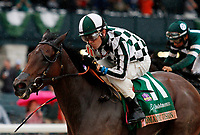 "LEXINGTON, KY - October 8, 2017. #11 Romantic Vision and jockey Brian Hernandez Jr. win the 62nd running of the Juddmonte Spinster Grade 1 $500,000 ""Win and You're In Breeders' Cup Distaff Division"" for owner G. Watts Humphrey Jr. and trainer George Arnold at Keeneland Race Course.  Lexington, Kentucky. (Photo by Candice Chavez/Eclipse Sportswire/Getty Images)"
