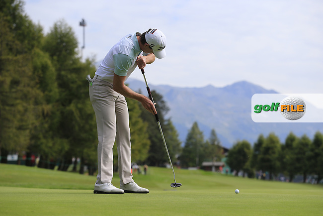 Brett Rumford (AUS) on the 10th green during Thursday's Round 1 of the 2014 Omega European Masters held at the Crans Montana Golf Club, Crans-sur-Sierre, Switzerland.: Picture Eoin Clarke, www.golffile.ie: 4th September 2014