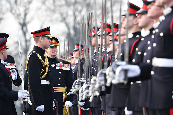 Prince William, Duke of Cambridge represents Her Majesty The Queen as the Reviewing Officer during The Sovereign's Parade at the Royal Military Academy Sandhurst in Camberley, Surrey.<br /> <br /> DECEMBER 14th 2018. Credit: Matrix/MediaPunch ***FOR USA ONLY***<br /> <br /> REF: TST 184636