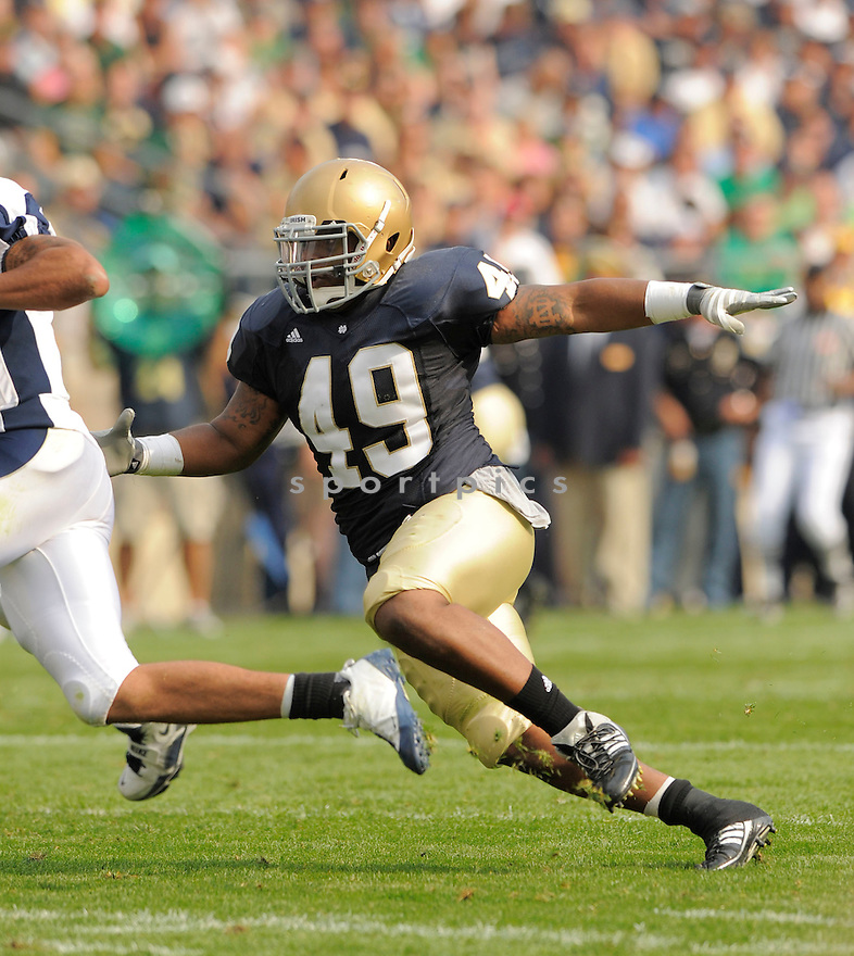 TORYAN SMITH, of the University of Notre Dame Irish , in action during the Irish game against the University of Nevada Wolf Pack in South Bend, IN, on September 05, 2009.  Notre Dame  wins 35-0.