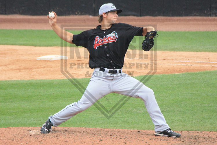 APPLETON - JULY 2010: Steven Ames of the Great Lakes Loons, Class-A affiliate of the Los Angeles Dodgers, during a game on July 18, 2010 at Fox Cities Stadium in Appleton, Wisconsin. (Photo by Brad Krause)