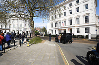 scene<br /> 'Kingsman: The Great Game' filming on location in Belgravia, London England on April 14, 2019<br /> CAP/IH<br /> &copy;Ivan Harris/Capital Pictures