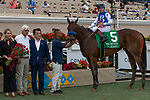 DEL MAR, CA  AUGUST 31: #5 Bast, ridden by Drayden Van Dyke, in the winners circle after winning the Del Mar Debutante (Grade l) on August 31, 2019 at Del Mar Thoroughbred Club in Del Mar, CA. ( Photo by Casey Phillips/Eclipse Sportswire/CSM)
