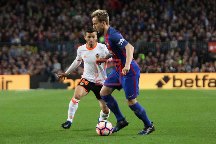 League Santander 2016/2017. Game: 28.<br /> FC Barcelona vs Valencia CF: 4-2.<br /> Gaya vs Ivan Rakitic.