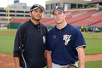 June 28th 2008:  Jeff Marquez and Dan McCutchen of the Scranton Wilkes-Barre Yankees, Class-AAA affiliate of the New York Yankees, during a game at Dunn Tire Park in Buffalo, NY.  Photo by:  Mike Janes/Four Seam Images