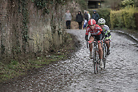 Puck Moonen (NED/Lotto-Soudal Ladies)<br /> over the Chemin de Wih&eacute;ries cobble section (Honelles)<br /> <br /> women's race<br /> GP Le Samyn 2017