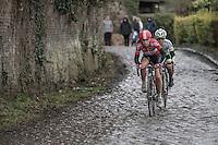 Puck Moonen (NED/Lotto-Soudal Ladies)<br /> over the Chemin de Wihéries cobble section (Honelles)<br /> <br /> women's race<br /> GP Le Samyn 2017