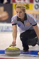 Glasgow. SCOTLAND. Russia's  Julia PORTUNOVA.  &quot;Round Robin&quot; Games. Le Gruy&egrave;re European Curling Championships. 2016 Venue, Braehead  Scotland<br /> Monday  21/11/2016<br /> <br /> [Mandatory Credit; Peter Spurrier/Intersport-images] &quot;Round Robin&quot; Games. Le Gruy&egrave;re European Curling Championships. 2016 Venue, Braehead  Scotland<br /> Monday  21/11/2016<br /> <br /> [Mandatory Credit; Peter Spurrier/Intersport-images]