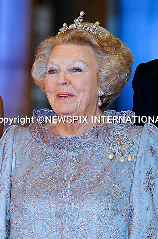 "QUEEN BEATRIX.attends the gala farewell dinner given in her honour at the Rijksmuseum in Amsterdam, The Netherlands_April 29, 2013..Crown Prince Willem-Alexander and Crown Princess Maxima will be proclaimed King and Queen  of The Netherlands on the abdication of Queen Beatrix on 30th April 2013..Mandatory Credit Photos: ©NEWSPIX INTERNATIONAL..**ALL FEES PAYABLE TO: ""NEWSPIX INTERNATIONAL""**..PHOTO CREDIT MANDATORY!!: NEWSPIX INTERNATIONAL(Failure to credit will incur a surcharge of 100% of reproduction fees)..IMMEDIATE CONFIRMATION OF USAGE REQUIRED:.Newspix International, 31 Chinnery Hill, Bishop's Stortford, ENGLAND CM23 3PS.Tel:+441279 324672  ; Fax: +441279656877.Mobile:  0777568 1153.e-mail: info@newspixinternational.co.uk"