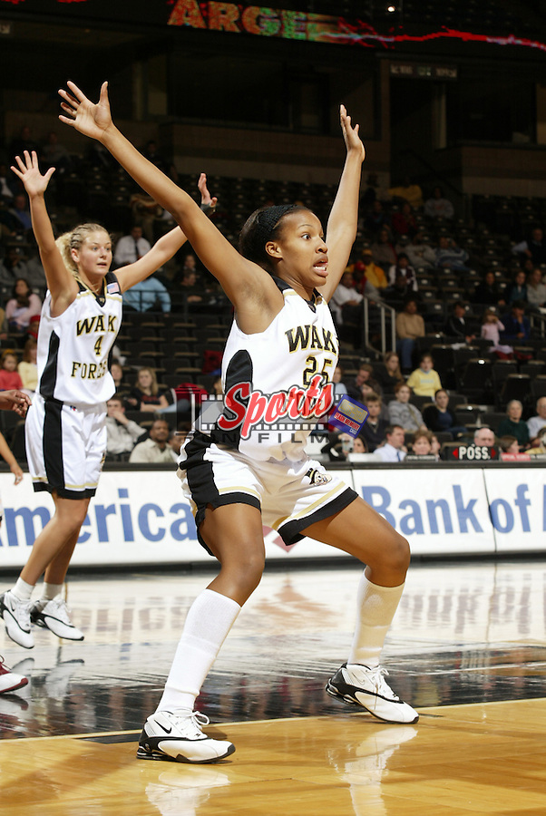Maya Bennett (25) of the Wake Forest Demon Deacons in action against the Florida State Seminoles at the LJVM Coliseum on January 15, 2004 in Winston-Salem, North Carolina.  (Brian Westerholt/Sports On Film)