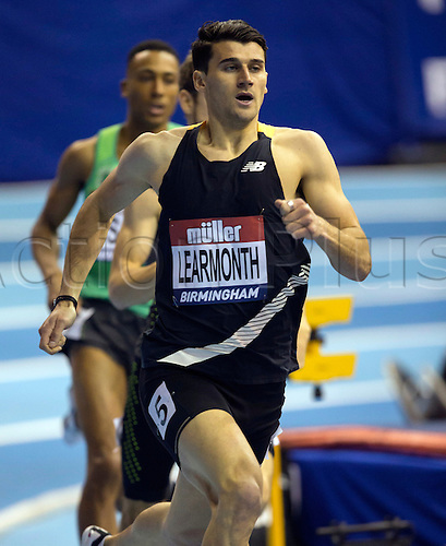 February 18th 2017,  Birmingham, Midlands, England; IAAF The Müller Indoor Grand Prix Athletics meeting; Guy Learmonth (GBR) competing in the final of the Men's 800 Metres