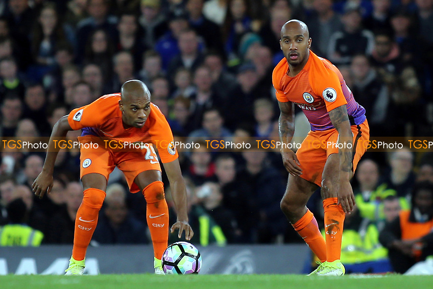 Fernandinho and Fabian Delph of Manchester City during Chelsea vs Manchester City, Premier League Football at Stamford Bridge on 5th April 2017