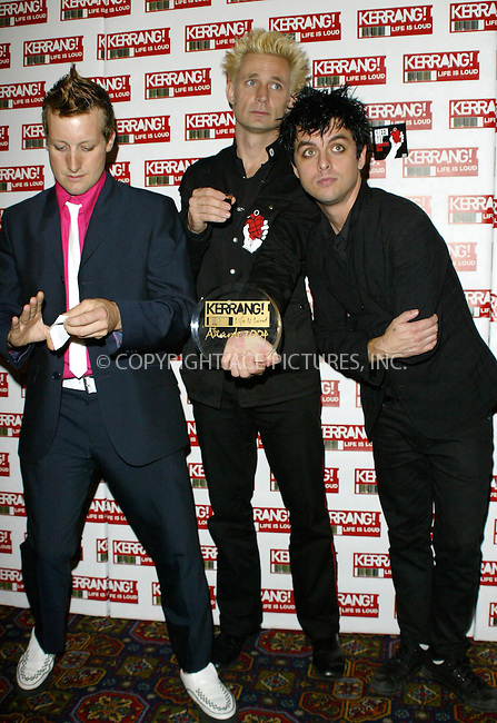 Green Day at the 2004 Kerrang Awards held at The Brewery, London, 26 August 2004. ..FAMOUS PICTURES AND FEATURES AGENCY.tel  +44 (0) 20 7731 9333.fax +44 (0) 20 7731 9330.e-mail info@famous.uk.com.www.famous.uk.com.FAM13407