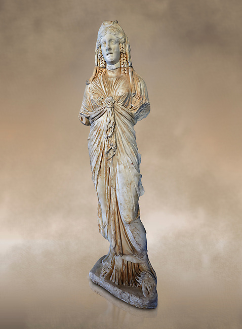 Roman statue of Priestess of Isis,  2nd century AD from Hierapolis. Hierapolis Archaeology Museum, Turkey. Against an art background