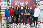 Minister Brendan Griffin TD with the staff and students at the KCFE on Friday morning before he presented a talk on tourism and recreation.<br /> L to r: Chloe O'Halloran, Lauren O'Sullivan, Margaret Byrnes (Tourism of Business Teacher), Minister Brendan Griffin, Mary Lucey (Principal of KCFE), Kay Lanigan Ryan  and Karl Dunnigan.