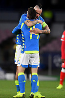 Dries Mertens of Napoli celebrates with Marek Hamsik of Napoli after scoring his side third goal during the Uefa Champions League 2018/2019 Group C football match betweenSSC Napoli and Crvena Zvezda at San Paolo stadium, Napoli, November, 28, 2018 <br /> Foto Andrea Staccioli / Insidefoto