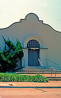 "Irving Gill: St. James Chapel, La Jolla 1907-08. Described as ""nearly intact"" but isn't. Now a part of La Jolla First Baptist.1627 Genter. Mission style. Photo 2000."