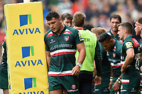 Ellis Genge of Leicester Tigers looks dejected after his side concedes a try. Aviva Premiership match, between Leicester Tigers and Bath Rugby on September 3, 2017 at Welford Road in Leicester, England. Photo by: Patrick Khachfe / Onside Images