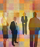Portrait of businessmen and businesswomen against abstract background