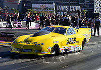 Oct. 28, 2012; Las Vegas, NV, USA: NHRA pro mod driver Troy Coughlin during the Big O Tires Nationals at The Strip in Las Vegas. Mandatory Credit: Mark J. Rebilas-