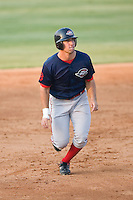 Ryan Kalish (2) of the Greenville Drive has his eye on the ball as he takes off from second base at Fieldcrest Cannon Stadium in Kannapolis, NC, Sunday August 10, 2008. (Photo by Brian Westerholt / Four Seam Images)