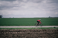 Mads Pedersen (DEN/Trek-Segafredo)<br /> <br /> Team Trek-Segafredo during parcours recon of the 116th Paris-Roubaix 2018, 3 days prior to the race