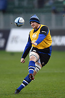 Matt Garvey of Bath Rugby practises his goal kicking during the pre-match warm-up. Gallagher Premiership match, between Bath Rugby and Sale Sharks on December 2, 2018 at the Recreation Ground in Bath, England. Photo by: Patrick Khachfe / Onside Images