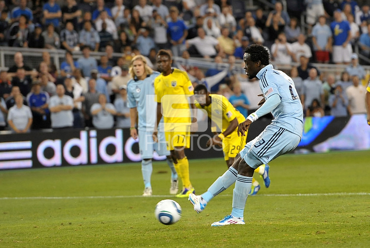 Kei Kamara Sporting KC taking a penalty kick... Sporting Kansas City defeated Columbus Crew 2-1 at LIVESTRONG Sporting Park, Kansas City, Kansas.
