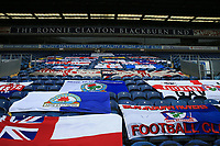 18th July 2020; Ewood Park, Blackburn, Lancashire, England; English Football League Championship Football, Blackburn Rovers versus Reading; Blackburn Rovers flags laid out at the Ronnie Clayton end of the stadium prior to the match