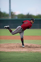 AZL Diamondbacks starting pitcher Luis Frias (13) follows through on his delivery during an Arizona League game against the AZL White Sox at Camelback Ranch on July 12, 2018 in Glendale, Arizona. The AZL Diamondbacks defeated the AZL White Sox 5-1. (Zachary Lucy/Four Seam Images)
