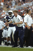 06 September 2008:  Injured Penn State LB Sean Lee signals to and yells at the defense from the side line..The Penn State Nittany Lions defeated the Oregon State Beavers 45-14 September 6, 2008 at Beaver Stadium in State College, PA..