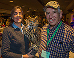 Kathleen Tigan with her Eurasian Eagle Owl Louise and tour guide Jim Woods during the Eagles & Agriculture Falconers dinner on Friday, Jan. 26, 2018 in the Carson Valley.