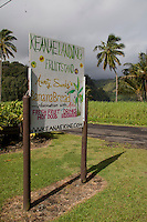 Ke'Anae Landing Fruit Stand sign on Ke'Anae peninsula off the road to Hana.
