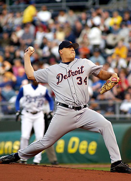 Detroit Tigers RHP Nate Cornejo starts at Kauffman Stadium in Kansas City, Missouri on April 18, 2003. The Royals won 4-3.