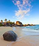 Virgin Gorda, British Virgin Islands, Caribbean<br /> Morning light on the beach of Little Trunk Bay near the Baths