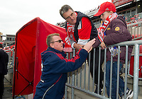 22 October 2011: New England Revolution head coach Steve Nicol talks with fans during the warm-up in a game between the New England Revolution and Toronto FC at BMO Field in Toronto..The game ended in a 2-2 draw.
